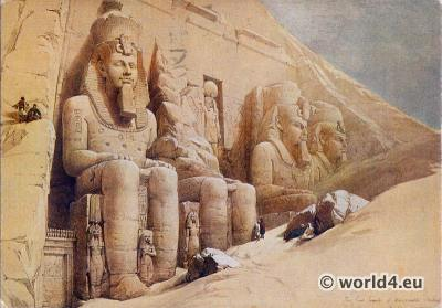 Ancient Egypt sculptures. Colossal figures. Great temple of Abu Simbel. David Robert