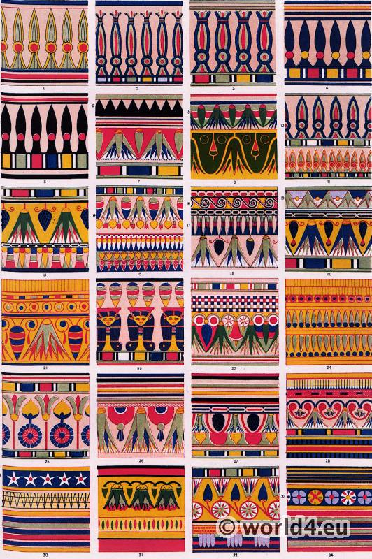 Ancient Egypt sarcophagus decorations. Ornaments from graves of Karnak, Thebes, Saqqara. Ornament by Owen Jones.