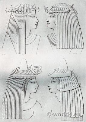 Ancient Egypt headdresses of ladies of various epochs.