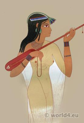 Ancient Egypt costume. Player of mandore.