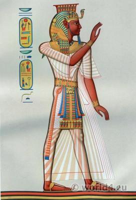 Ancient Egypt Pharaoh costume. Egyptian Pharaoh Ramses III. King crown.