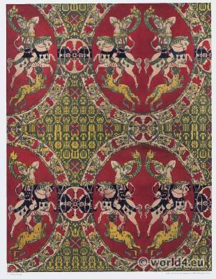 Sassanid pattern. Byzantine period silk fabric