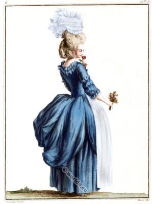 Robe à l'Anglaise. Baroque dress. French rococo costume. Louis XVI fashion period.