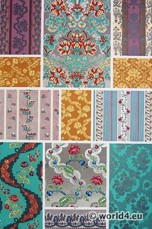 collection of antique fabric design