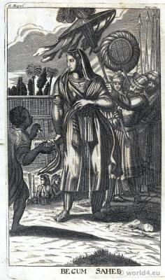 India Mughal Empire costumes. Imperial Princess Jahanara Begum Sahib.