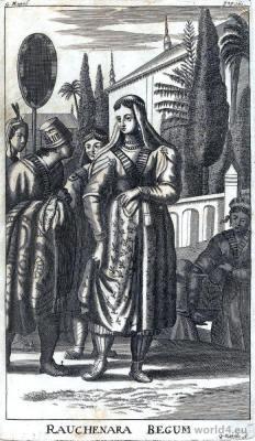 Begums of the Mughal dynasty. Mughal Princess Roshnara Begum. India Mughal Empire costumes.