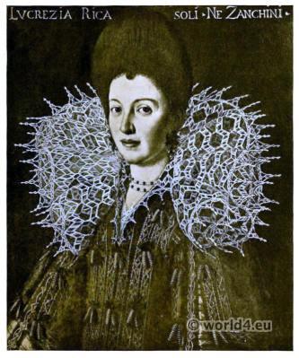 Italian Gimp lace Ragusa. Lucrezia Ricasoli né Zanchino.