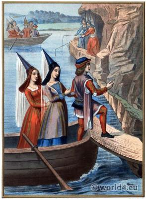 Middle ages, fashion,hennin, Burgundy, gothic, costumes, ladies travel, medieval,clothing,15th century