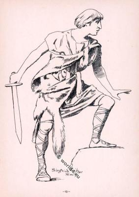 Siegfried Brühnhild perceiving. Opera Costumes. The Ring Cycle. Ring des Nibelungen. Richard Wagner.
