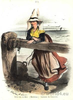 Traditional French national costumes. Belle Ile en Mer, Brittany folk dress.