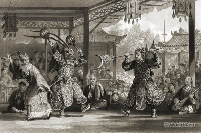 Ancient China Opera Costumes. The Sun and Moon