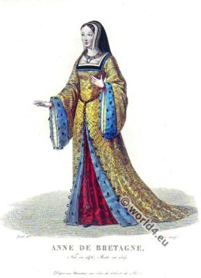 Anne de Bretagne, Duchess of Brittany, Queen,France, Anne De Bretagne, 15th century, ceremonial robes, middle ages,costume, fashion, medieval clothing.
