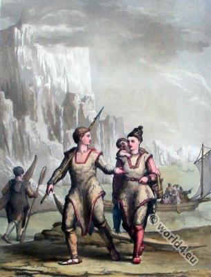 Polar Eskimos. Greenland costumes. Inuit. Native, Arctic, Highlander, Dress, glaciers, ice, parkas, fur,