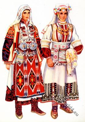 Macedonian national costumes from Kumanovo, Tetovo.