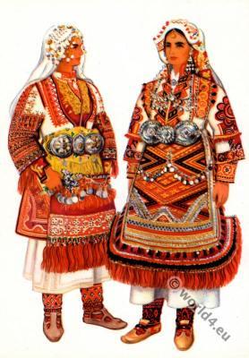 Macedonian national costumes. Krusevo, Prilep. Македонски народни носии од Крушево, Прилеп.