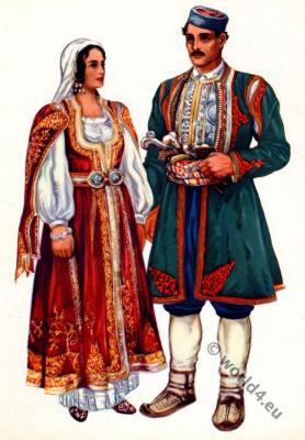 Balkans folk dresses. Montenegro national costumes from Crna Gora, Risan.