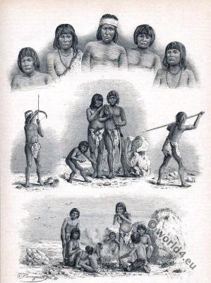 Inhabitants of Tierra del Fuego costumes. Yamana or Yaghan, Haush, Selk'nam and Kawesqar people