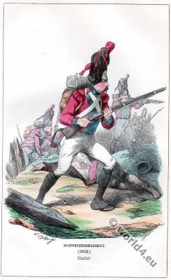 Military uniforms. French Swiss regiment. Grenadiers in combat.