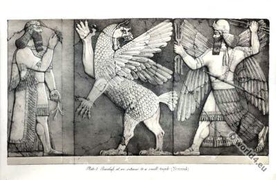 Ancient Assyrian History. Bas-Reliefs at Nimroud. Ancient Assyrian sculpture.