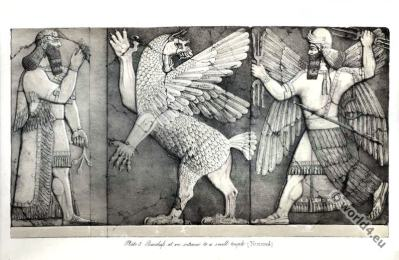 Ancient Assyrian History. Bas-Reliefs at Nimroud. Ancient Assyrian sculpture.