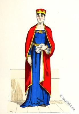 Capetian dynasty. Noblewoman costume. French Middle ages fashion.