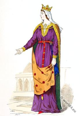 Capetian queens costume History. 4th century fashion. Middle ages fashion. Renaissance costumes
