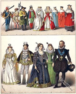 French court dresses. 16th century fashion. Baroque costumes