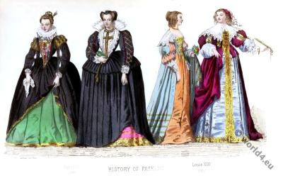Baroque fashion history, 16th century costumes. court dresses