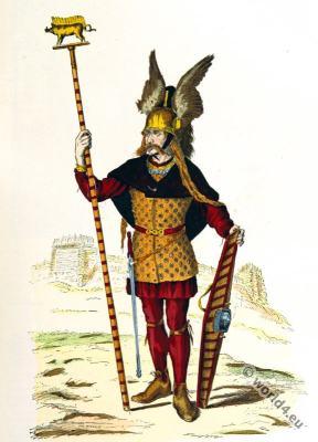 Roman gauls costumes. Gallic chief. 3rd to 4th century clothing