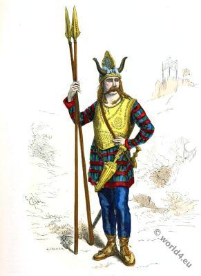 Gallic leader. Gaul warrior. Gaulish soldier costume.