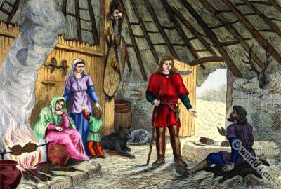 2nd century clothing, Gauls, Gallic costume history, Gallic residential interior.