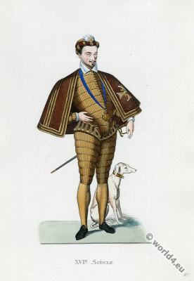 Henry III. King of France (1551 - 1589). Baroque era fashion.
