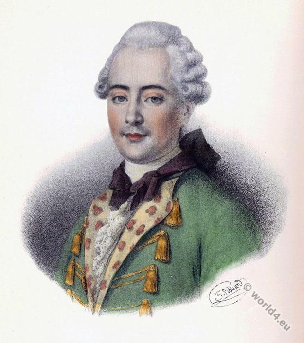 Jean-François de La Harpe. French poet. Louis XIV costumes,Rococo, allonge wig