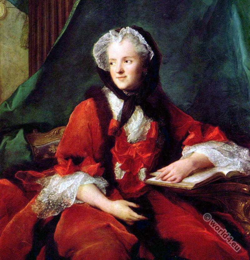 Marie Leczinska. Queen consort of France. 18th century. Rococo fashion