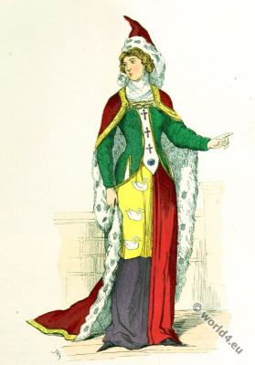 Noble Lady. 14th century. Charles V. Middle ages costume. Gothic fashion