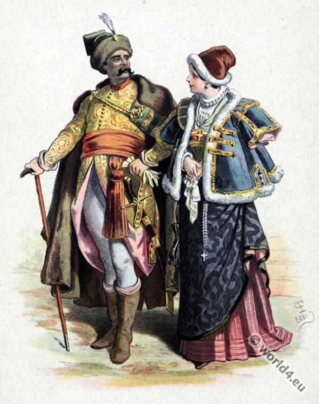 Poland Costume History. Baroque Nobility costumes.