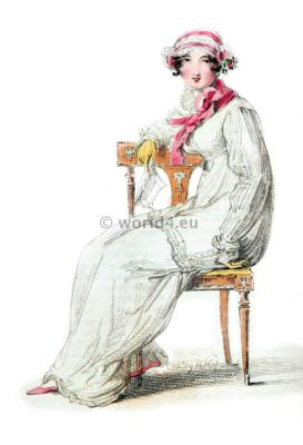 Indoor Morning Dress. Regency Costumes. France First empire fashion. Napoleonic costume period.