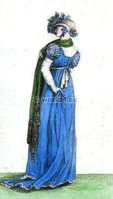 Costume Parisien 1805. Chapeau de Paille blanche, ornée de Lilas. Regency Costumes.