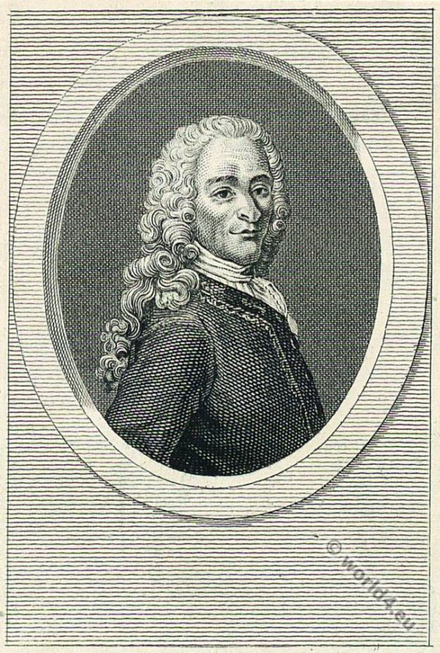 Voltaire. French Philosopher, Historian, Writer.18th century, allonge wig
