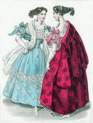 Romanticism Crepe dresses. Romantic era hairstyle. Biedermeier fashion.