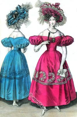 Romantic Gauze dresses. Bonnets. Romantic era costumes. Biedermeier fashion.