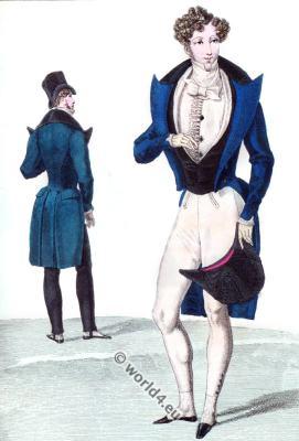 Satin jacket. Romantic era fashion. Dandy costumes. Biedermeier era.