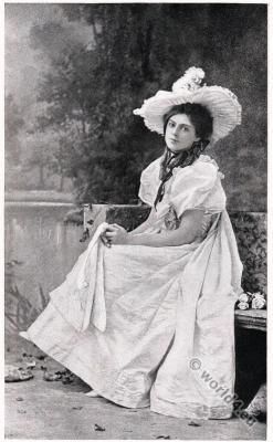 Ethel Barrymore American actress. Victorian era costumes