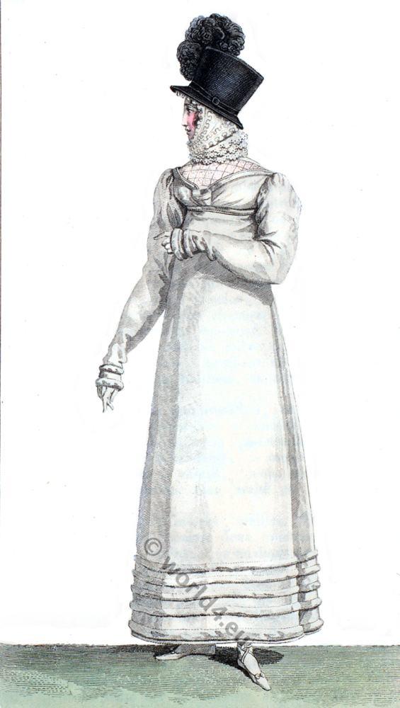 Regency, fashion history, cylinder, hat, Romanticism, costumes,19th century,