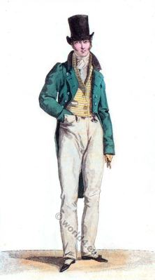 France menswear 1817.  Romantic era costumes. Biedermeier era. Man with cylinder hat
