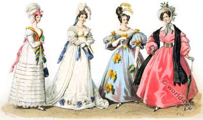 The Restoration period fashion. Leg-of-mutton sleeves. Bonnets.
