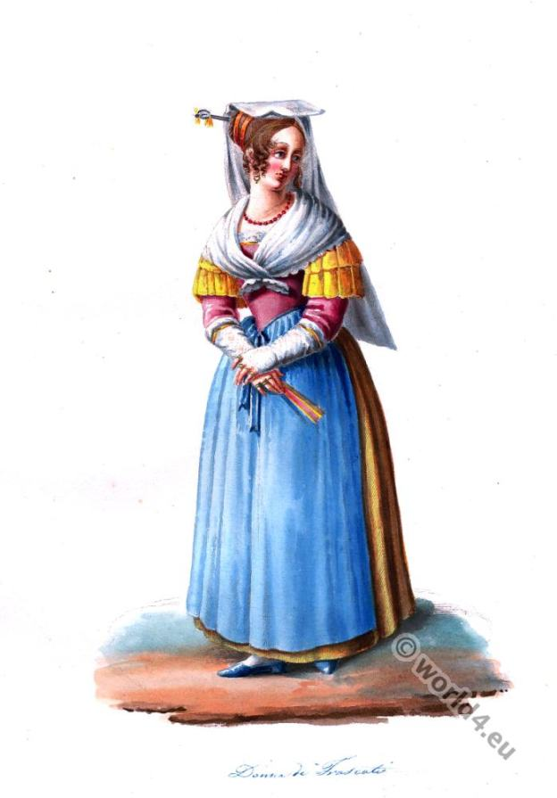 Frascati folk dress. Italy national costumes. Costumes of Rome.