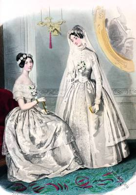 Romantic era costumes. Romanticism fashion. 19th century biedermeier period.