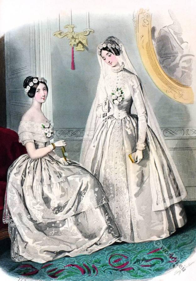 Romantic era costumes. Romanticism fashion. 19th century biedermeier period.