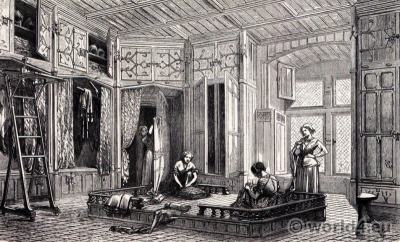 15th century wardrobe. Middle ages furnishings. Renaissance interior.